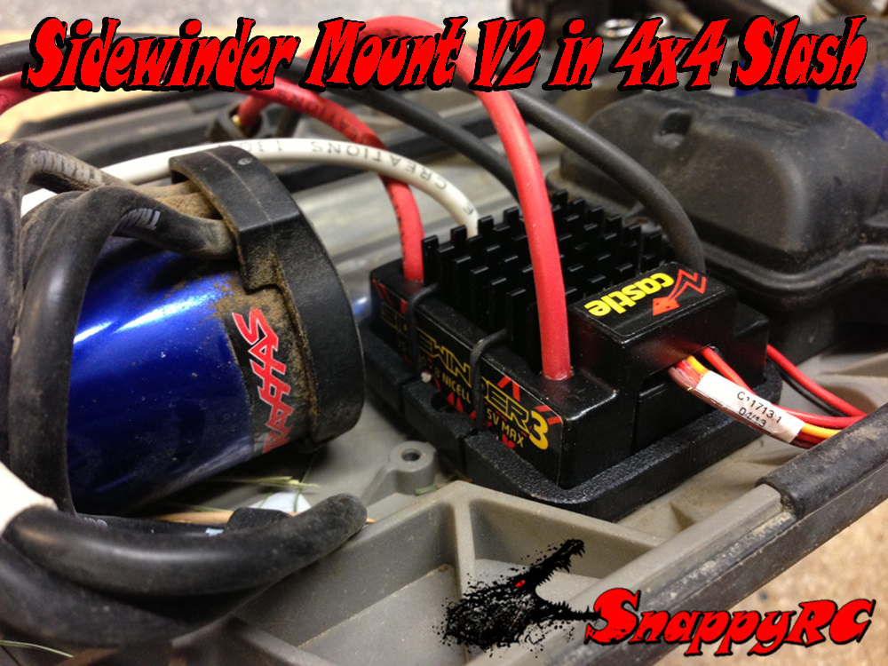 Sidewinder V2 installed in 4x4 Slash with Sidewinder 3 waterproof ESC